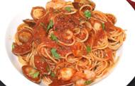 シーフードのトマトソーススパゲティ
